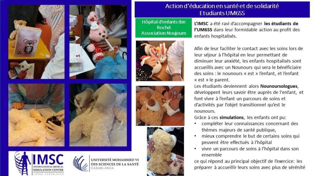 L'IMSC apporte son support pédagogique et logistique à des actions éducatives au profit d'enfants hospitalisés